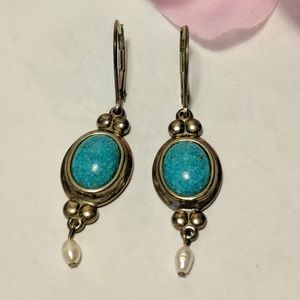 Jewelry - Vintage Sterling Silver Turquoise Pearl Earrings